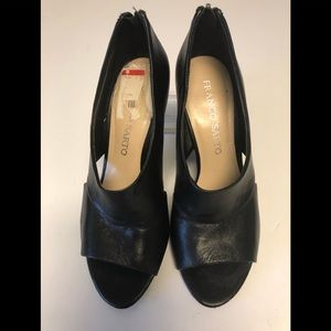 Franco Sarto L Game black peep toe wedge 6
